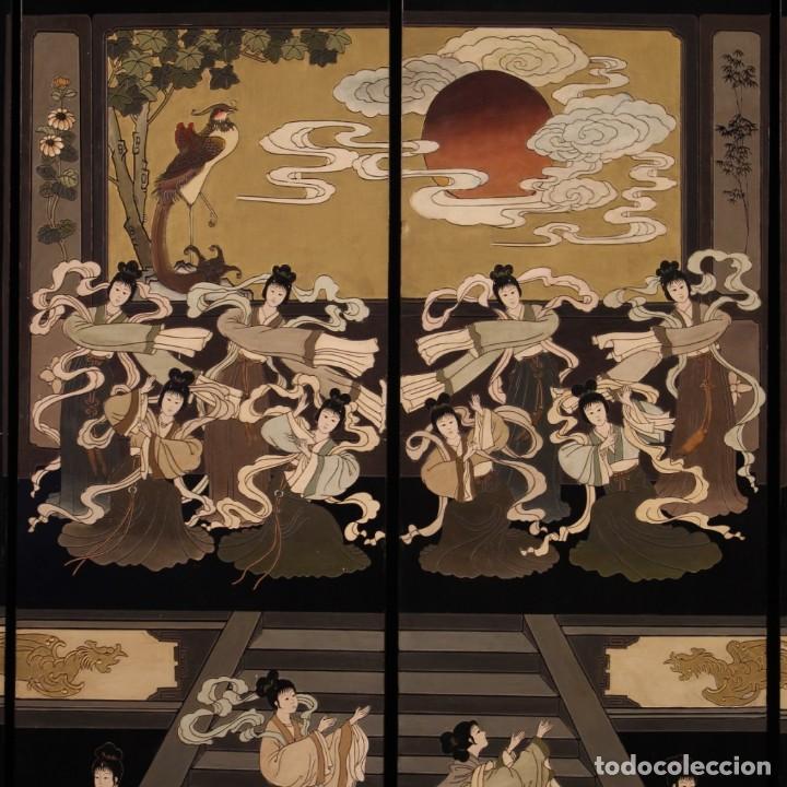 Antigüedades: Biombo francés lacado, dorado y pintado chinoiserie - Foto 3 - 207089802