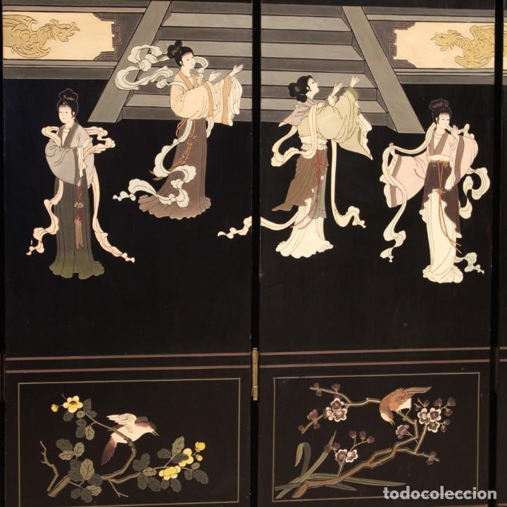 Antigüedades: Biombo francés lacado, dorado y pintado chinoiserie - Foto 4 - 207089802