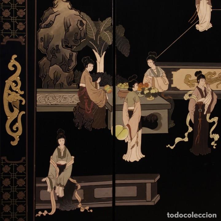 Antigüedades: Biombo francés lacado, dorado y pintado chinoiserie - Foto 5 - 207089802
