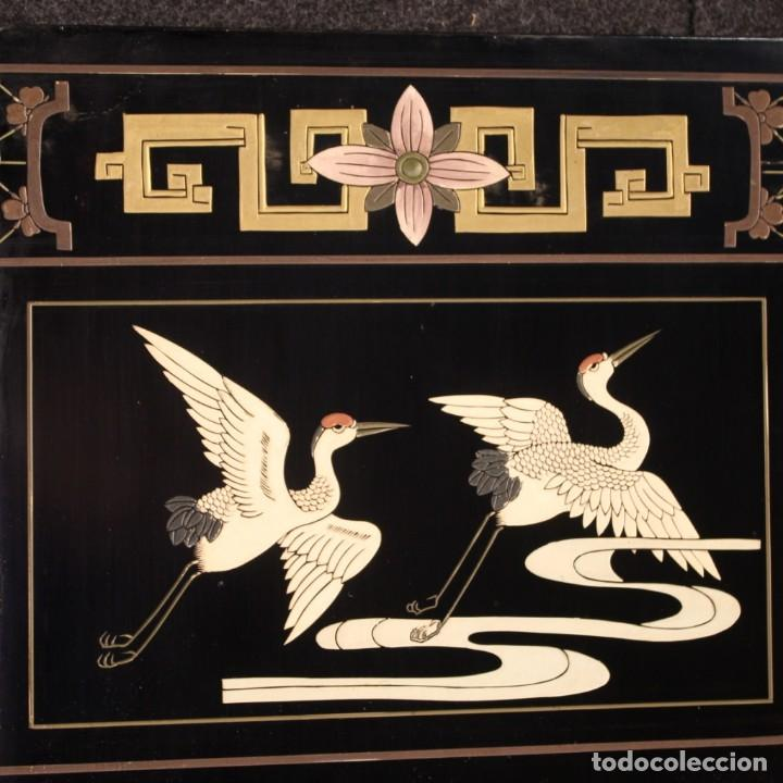 Antigüedades: Biombo francés lacado, dorado y pintado chinoiserie - Foto 6 - 207089802
