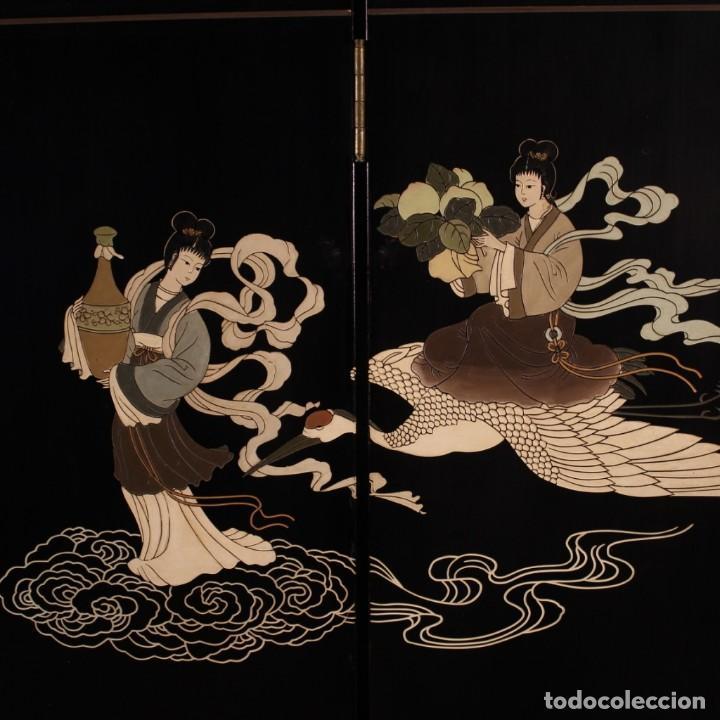 Antigüedades: Biombo francés lacado, dorado y pintado chinoiserie - Foto 7 - 207089802