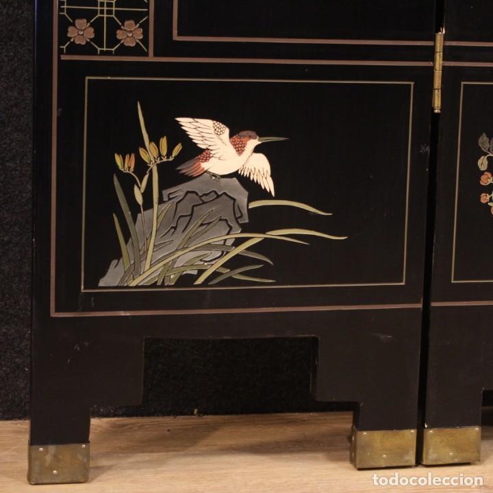 Antigüedades: Biombo francés lacado, dorado y pintado chinoiserie - Foto 8 - 207089802