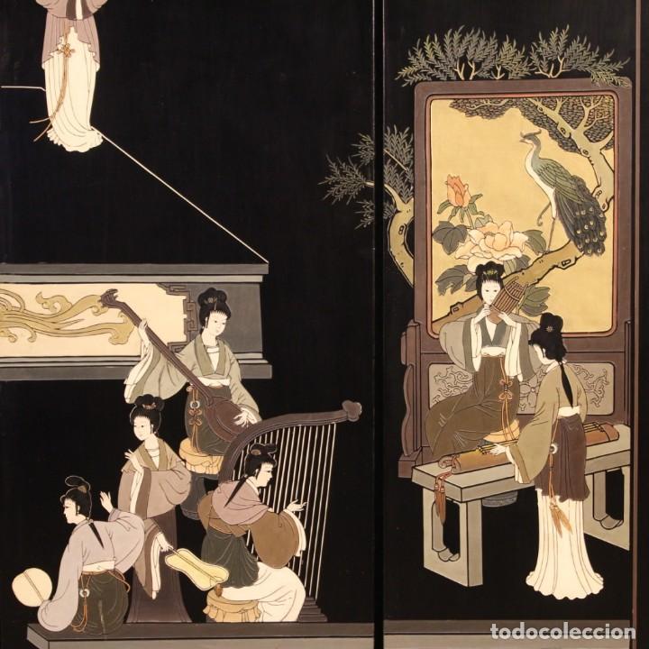 Antigüedades: Biombo francés lacado, dorado y pintado chinoiserie - Foto 9 - 207089802
