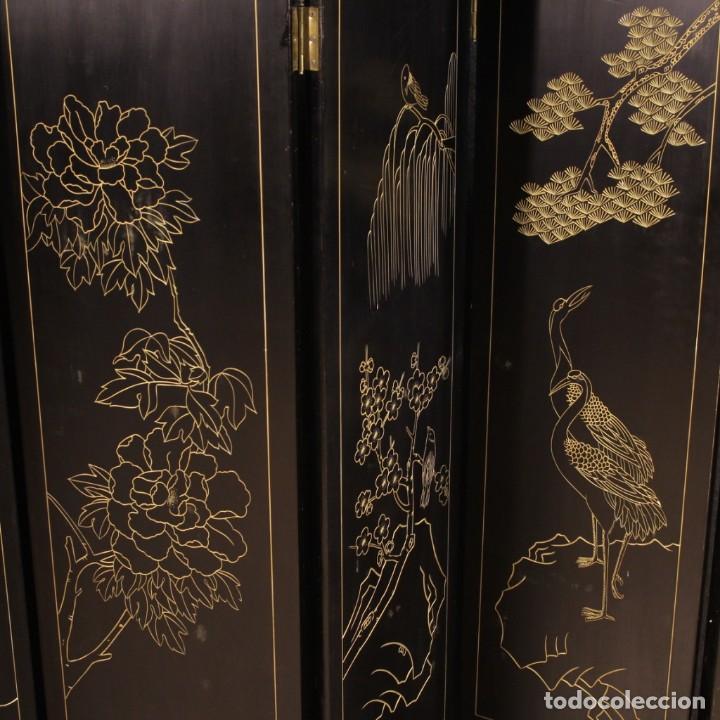 Antigüedades: Biombo francés lacado, dorado y pintado chinoiserie - Foto 11 - 207089802