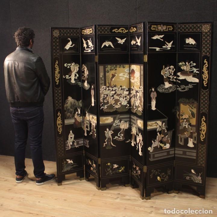 Antigüedades: Biombo francés lacado, dorado y pintado chinoiserie - Foto 12 - 207089802