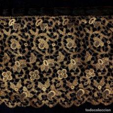Antigüedades: ANTIGUO ENCAJE METÁLICO EN ORO FRANCÉS S. XIX 156CMX14CM. Lote 207090652