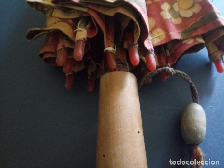 Antigüedades: ANTIGUA SOMBRILLA PARASOL DE TELA - MANGO EN MADERA Y HUESO - 48 CMS - Foto 14 - 207097052