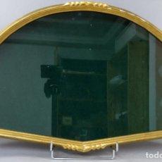 Antigüedades: ABANIQUERA EN MADERA TALLADA Y DORADA CON INTERIOR EN TERCIOPELO VERDE SIGLO XX. Lote 207098682