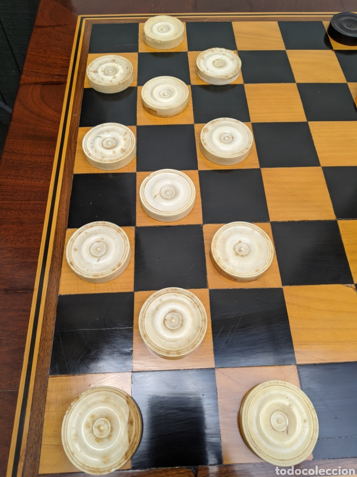 Antigüedades: Mesa DE DAMAS,o de ajedrez en caoba limoncillo, ebano y marfil - Foto 4 - 207106136
