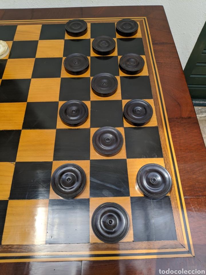 Antigüedades: Mesa DE DAMAS,o de ajedrez en caoba limoncillo, ebano y marfil - Foto 5 - 207106136