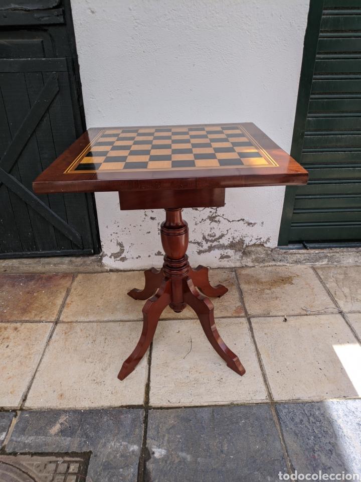 Antigüedades: Mesa DE DAMAS,o de ajedrez en caoba limoncillo, ebano y marfil - Foto 6 - 207106136