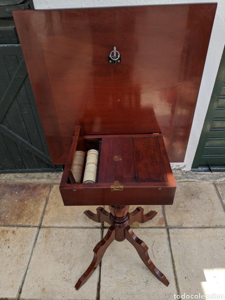 Antigüedades: Mesa DE DAMAS,o de ajedrez en caoba limoncillo, ebano y marfil - Foto 10 - 207106136