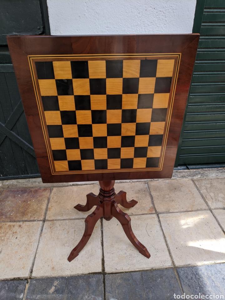 Antigüedades: Mesa DE DAMAS,o de ajedrez en caoba limoncillo, ebano y marfil - Foto 11 - 207106136