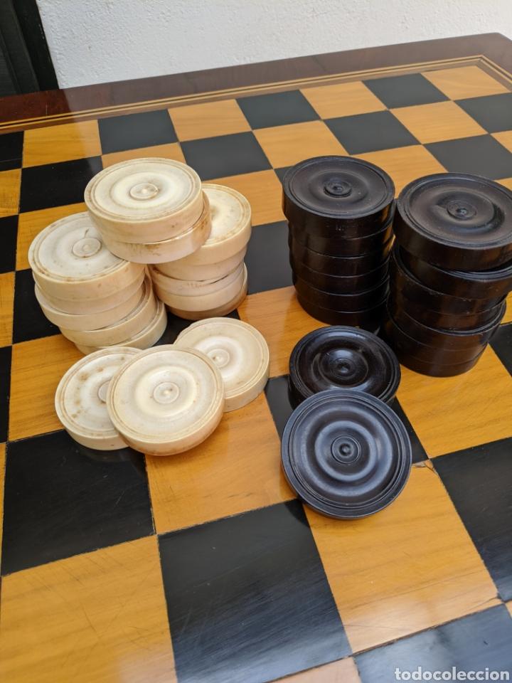 Antigüedades: Mesa DE DAMAS,o de ajedrez en caoba limoncillo, ebano y marfil - Foto 13 - 207106136