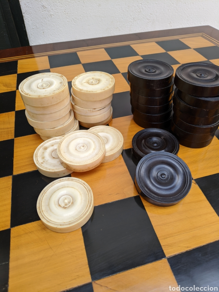 Antigüedades: Mesa DE DAMAS,o de ajedrez en caoba limoncillo, ebano y marfil - Foto 14 - 207106136