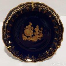 Antigüedades: PLATO PORCELANA DE LIMOGES AZUL COBALTO Y ORO. Lote 207125555
