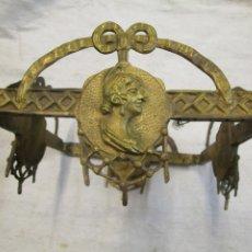 Antigüedades: ANTIGUO CERQUILLO PRINCIPAL O CORONA MODERNISTA - BRONCE DE LOS 20'S DE LAMPARA CAIRELES + INFO. Lote 207143497