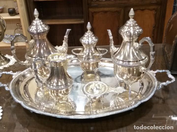 JUEGO DE CAFÉ Y TÉ ALPACA BAÑO DE PLATA. CON DECORACIÓN. 6 PIEZAS . ESPECTACULAR (Antigüedades - Platería - Bañado en Plata Antiguo)