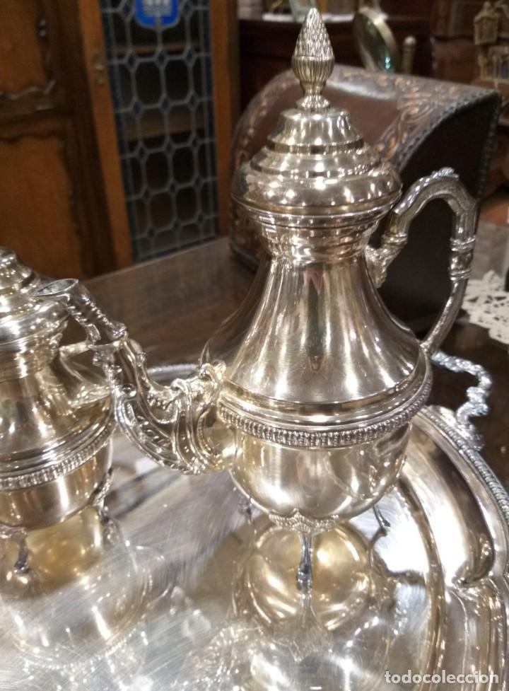 Antigüedades: JUEGO DE CAFÉ Y TÉ ALPACA BAÑO DE PLATA. CON DECORACIÓN. 6 PIEZAS . ESPECTACULAR - Foto 9 - 207190447