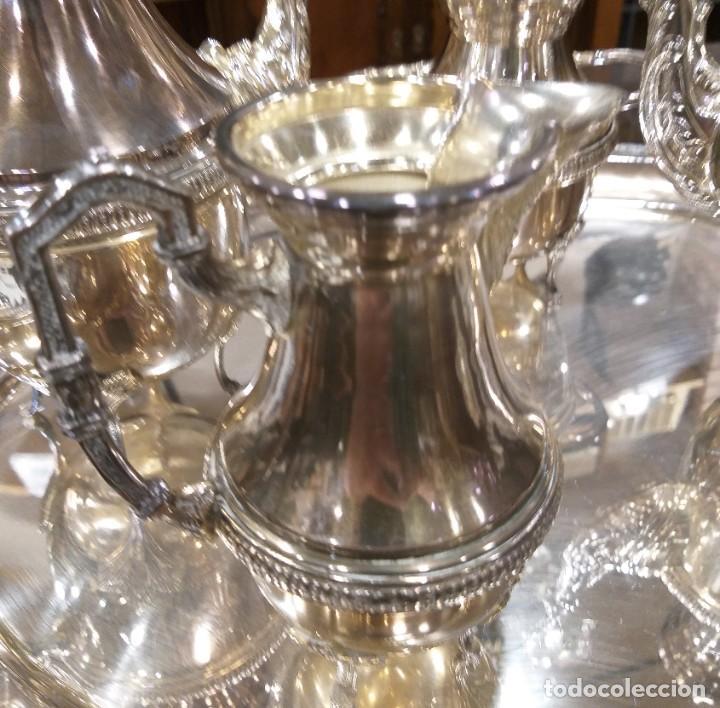 Antigüedades: JUEGO DE CAFÉ Y TÉ ALPACA BAÑO DE PLATA. CON DECORACIÓN. 6 PIEZAS . ESPECTACULAR - Foto 10 - 207190447