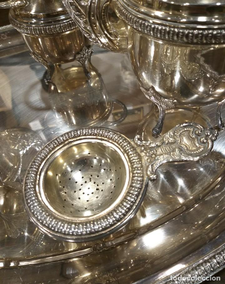 Antigüedades: JUEGO DE CAFÉ Y TÉ ALPACA BAÑO DE PLATA. CON DECORACIÓN. 6 PIEZAS . ESPECTACULAR - Foto 11 - 207190447