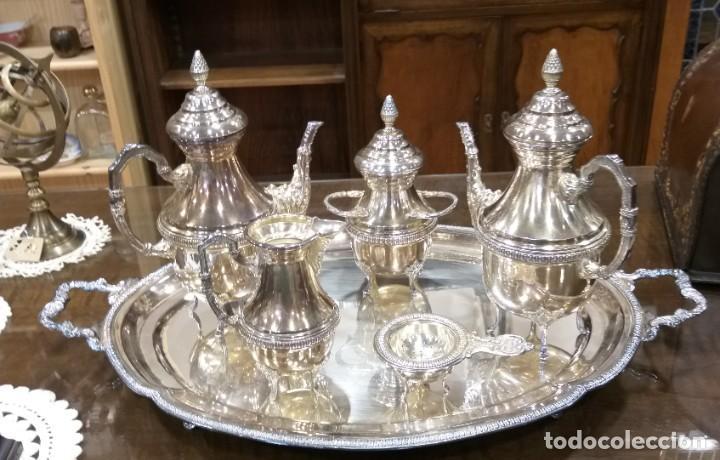Antigüedades: JUEGO DE CAFÉ Y TÉ ALPACA BAÑO DE PLATA. CON DECORACIÓN. 6 PIEZAS . ESPECTACULAR - Foto 15 - 207190447