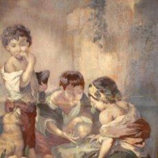 Antigüedades: TAPIZ PINTADO. NIÑOS. 113 CM. X 85 CM.. Lote 207191750