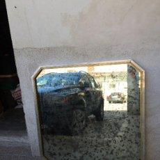 Antigüedades: GRAN ESPEJO AZOGUE MOTEADO ACERO BRONCE MARCO AÑOS 70 111X109CMS. Lote 207195552