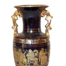 Antigüedades: PEQUEÑO TIBOR PORCELANA AZUL COBALTO MOTIVOS GRIEGOS 24K - FABRICADO EN GRECIA. Lote 207210297