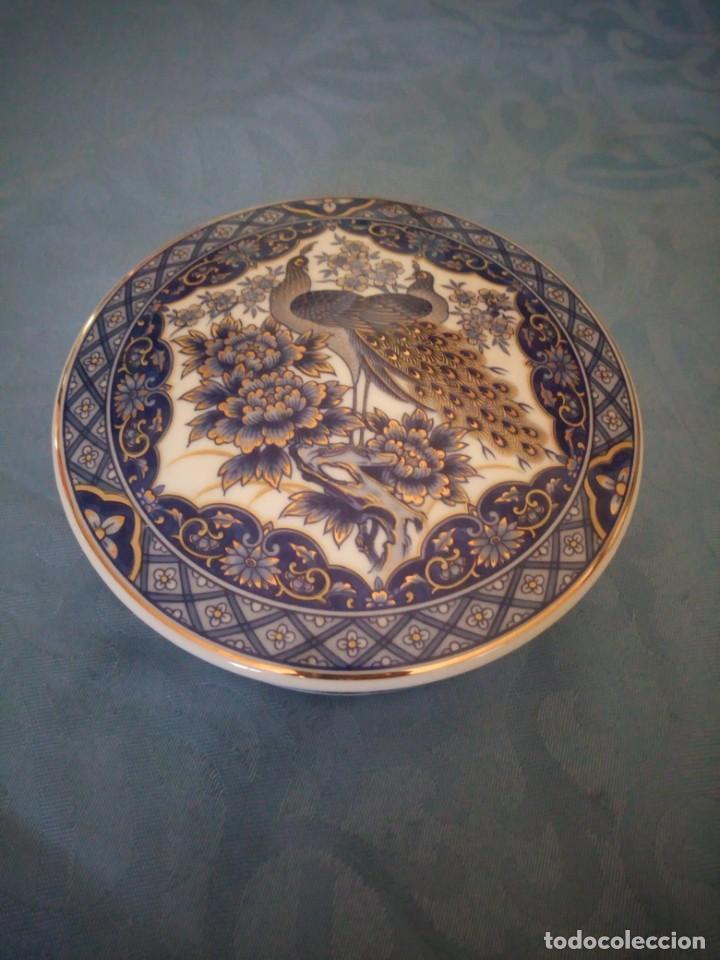 PRECIOSO JOYERO DE PORCELANA IMPERIAL PEACOK,PAVOS REALES CON TOQUES DE ORO. (Antigüedades - Porcelana y Cerámica - Japón)