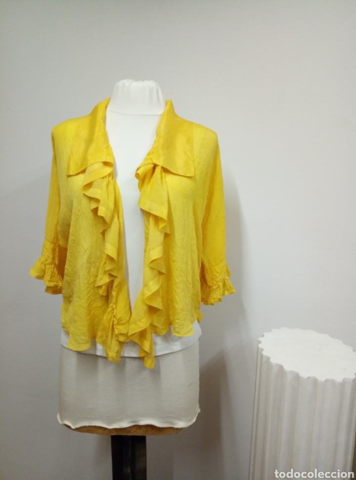 Antigüedades: Camisa seda amarilla art deco - Foto 8 - 207252475
