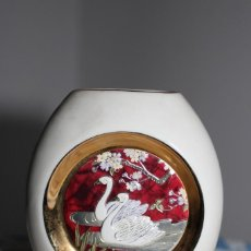Antigüedades: THE ART OF CHOKIN VASE, FLORERO LUNAR, BORDES DE ORO DE 24 KT, CISNE REAL. Lote 207333023
