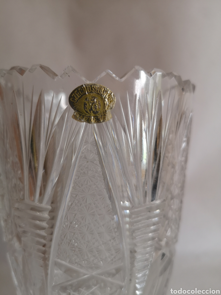 Antigüedades: Jarrón o florero de cristal de bohemia Czechoslovakia Checoslovaquia - Foto 2 - 207339477
