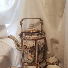 Antigüedades: CAFETERA Y TAZAS,JAPONES ANTIGUOS. Lote 207350856