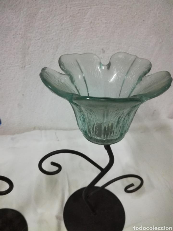 Antigüedades: Portavelas en metal y cristal - Foto 2 - 207357198
