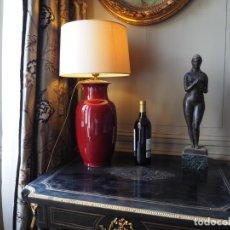 Antiguidades: LAMPARA CHINA EN PORCELANA SANG-DE-BOEUF ROJO PROFUNDO SIGLO XIX JINGDEZHEN. Lote 207396046