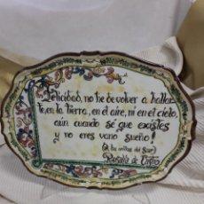 Antigüedades: BANDEJA POEMA ROSALIA DE CASTRO. Lote 207427452