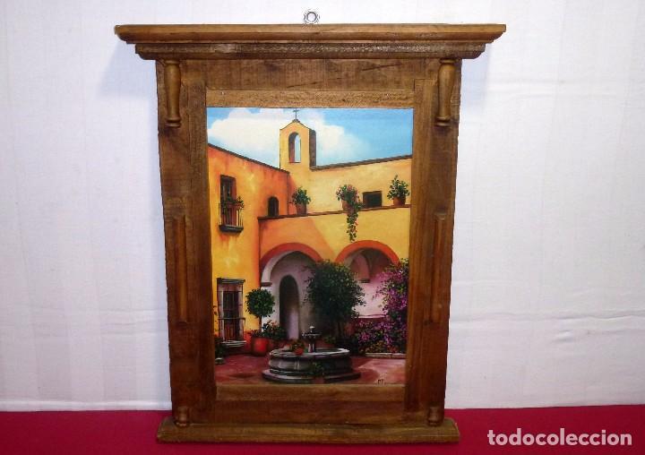 MARCO DE MADERA-ARTESANAL-CON LAMINA PEGADA SOBRE MADERA.MARCO DE 56 X 46 CM.LAMINA 38 X 26 CM. (Antigüedades - Hogar y Decoración - Marcos Antiguos)