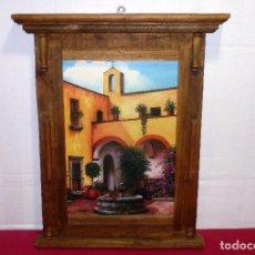 Oggetti Antichi: MARCO DE MADERA-ARTESANAL-CON LAMINA PEGADA SOBRE MADERA.MARCO DE 56 X 46 CM.LAMINA 38 X 26 CM.. Lote 207446062