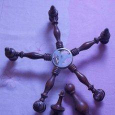 Antigüedades: ARMAZON LAMPARA DE MADERA-AÑOS 50-60. Lote 207474690