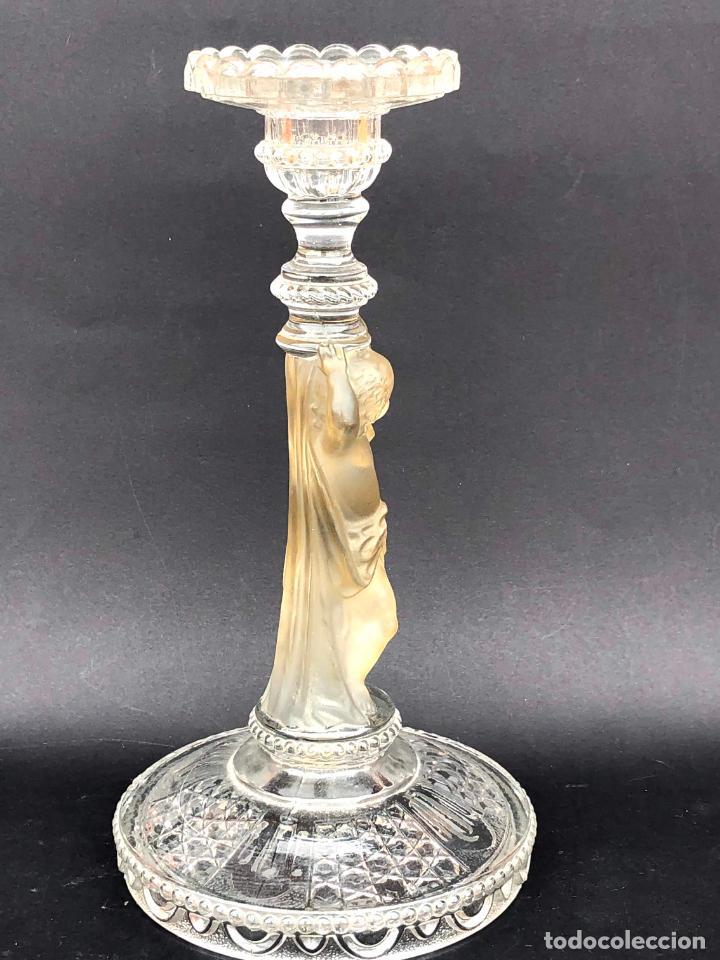 Antigüedades: CANDELERO de cristal. Finales siglo XIX. 23,2 cm - Foto 4 - 207539145