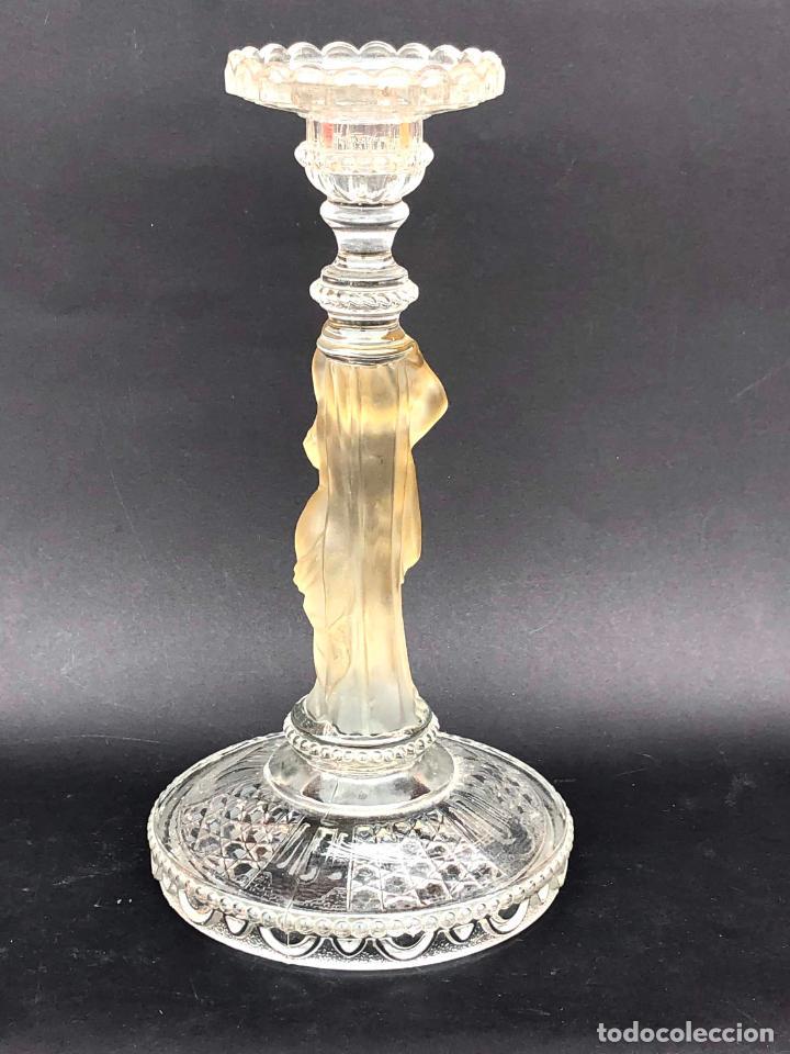 Antigüedades: CANDELERO de cristal. Finales siglo XIX. 23,2 cm - Foto 5 - 207539145