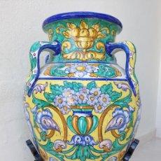 Antigüedades: MARAVILLOSA TINAJA DE 4 ASAS DE MENSAQUE RODRIIUEZ EN CERAMICA DE TRIANA,(SEVILLA). Lote 207554360