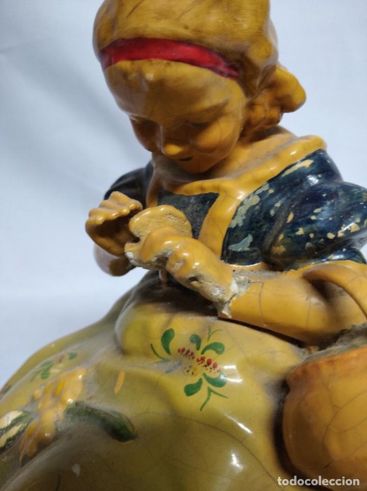 Antigüedades: Figura de niña fabricada en escayola. - Foto 8 - 207571061