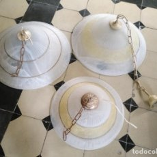 Antigüedades: JUEGO DE 3 ENORMES Y GRANDES LAMPARAS DE TECHO CRISTAL BETEADO DORADOS . 50 / 50 Y 40 DIAMETRO. Lote 207606082