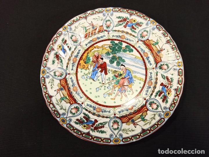PLATO DE CERÁMICA LABORES AGRÍCOLAS. JAPÓN. C9 (Antigüedades - Porcelana y Cerámica - Japón)