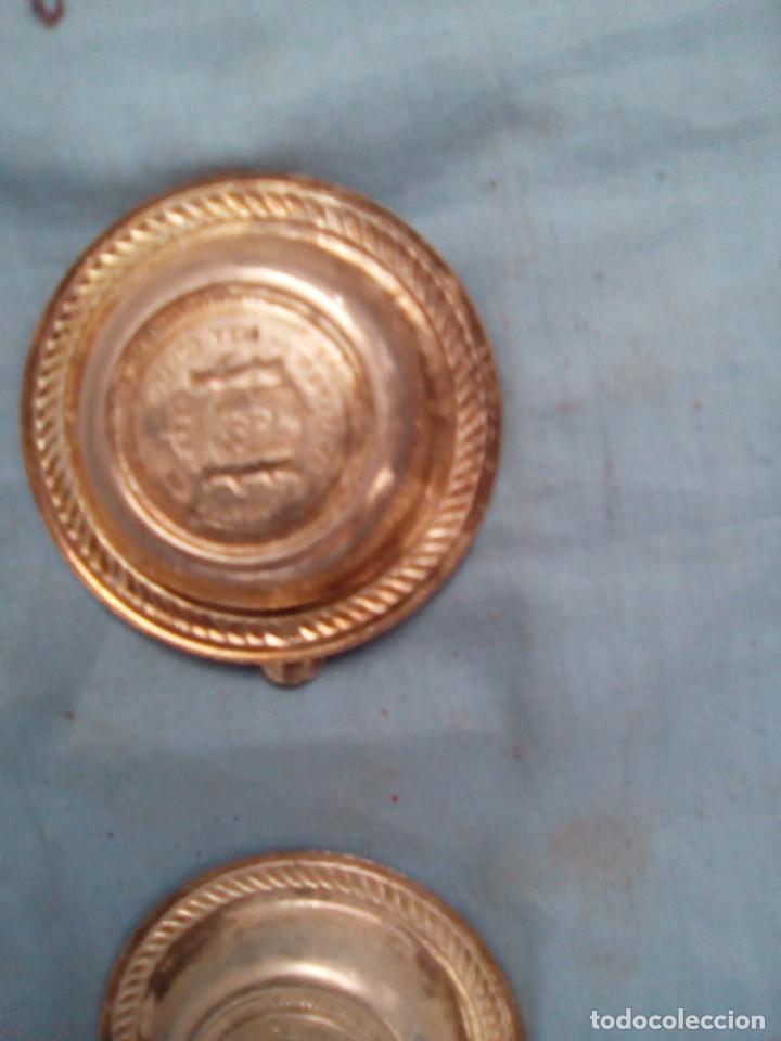 Antigüedades: 3 ceniceros de plata con sello de moneda de 5 pesetas del siglo xix - Foto 4 - 207722813