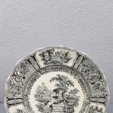 Antigüedades: ANTIGUO PLATO DE SARGADELOS MODELO GÓNDOLA TERCERA ÉPOCA DE COLOR NEGRO, SERIE NEGRO. SIGLO XIX. Lote 207730378