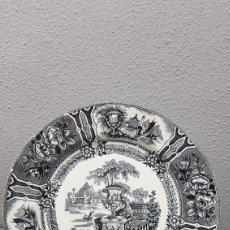 Antigüedades: ANTIGUO PLATO DE SARGADELOS MODELO GÓNDOLA TERCERA ÉPOCA DE COLOR NEGRO, SERIE NEGRO. SIGLO XIX.. Lote 207740665