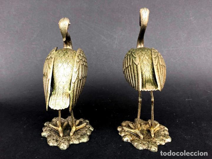 Antigüedades: Pareja de garzas reales.. Metal. Circa 1900. Japón ? 11,5 cm. - Foto 7 - 207761030